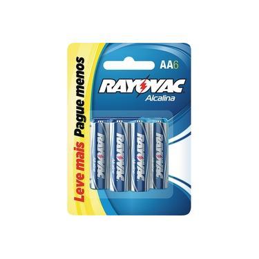Pilha Pequena Alcalina com 6 Unidades Rayovac Leve + Pague -