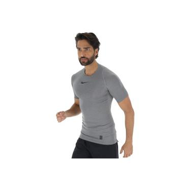 47f2f42bbf8ee Camisa de Compressão Nike Pro Top SS - Masculina - CINZA ESCURO PRETO Nike