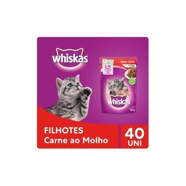 Kit Ração Úmida Whiskas Sachê Carne ao Molho Para Gatos Filhotes 40x85g