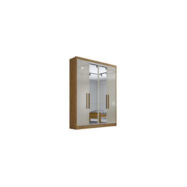 Imagem de Guarda-roupa Solteiro com Espelho Moderni Freijo Dourado Off White