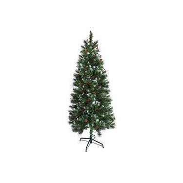 Árvore de Natal Nevada 1,8m 465 Galhos Decorada com Pinhas e Frutinhas e Base em Metal - Orb Christmas