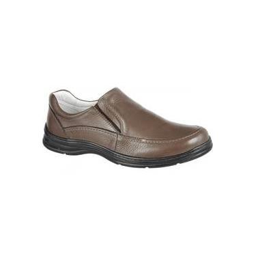 e1ca4b761 Sapato Masculino Confort Plus em Couro Bmbrasil Liso com Elástico 2711/03  Tabaco