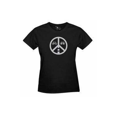 Camiseta Ciclista União Sobre Rodas Estampa Prata - Feminina