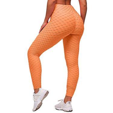 Memoryee Calça legging feminina de cintura alta para ioga, Light Orange, L