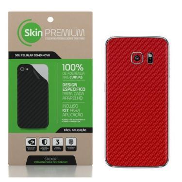 SKIN PREMIUM - ADESIVO FIBRA DE CARBONO SAMSUNG GALAXY S7 (Vermelho)