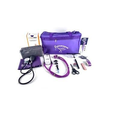 Kit Enfermagem com Aparelho de Pressão Estetoscópio P.A.MED Bolsa Lanterna Termômetro Fita Métrica Tesoura Garrote Óculos de Proteção