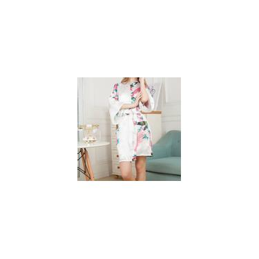 Mulheres Floral Impresso Satin Robe Party For Pijamas pijama moda cetim S-Be
