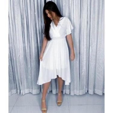 Imagem de Vestido Branco Solto Decote V Capri - Houda