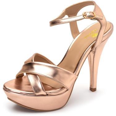 Sandália Tamanco Plataforma Salto Alto Fino Em Rosê Metalizado  feminino