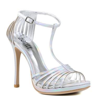 Sandália Feminina Holográfica Zariff Metalizada Incolor  feminino