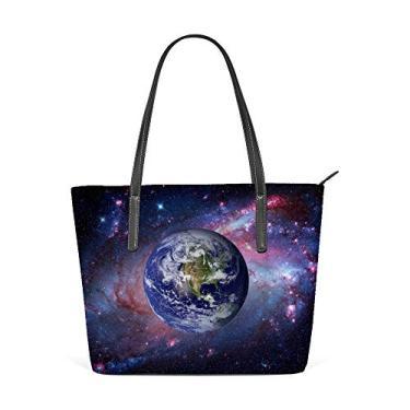 Top Carpenter Bolsa de ombro de couro sintético com alça superior Terra e Galáxia no fundo, bolsa mensageiro para mulheres e meninas