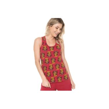 Pijama Fem Short Doll Harry Potter Brasão Grifinória Vermelho