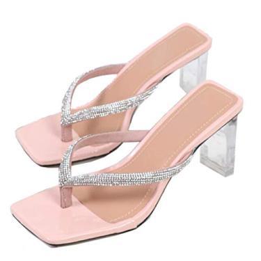 GATUXUS Sandália feminina sexy transparente salto alto grosso sandália bico quadrado chinelos confortáveis mule sandálias, rosa, 9