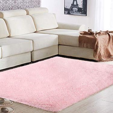 TOPmountain Tapete moderno ultramacio de pele salsicha para quarto, sala de estar, tapete decorativo de piso quente, antiderrapante, grande, fofo, confortável, peludo, tapete para meninos e meninas, 1,2 x 0,8 m, rosa