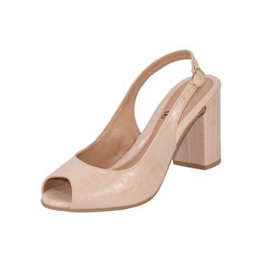 Imagem de Sandália Feminina Amorelle Sapato Peep Toe Salto Alto Grosso Conforto Marfim  feminino
