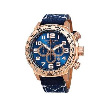 Relógio Masculino Akribos XXIV Modelo AKR842RGBU - Pulseira em Couro   A  prova d  água c852a7e2dc