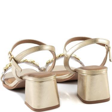 Imagem de Sandália Bico Quadrado Com Correntes Sapato Show 4494.07656 Sapato Show Dourado  feminino