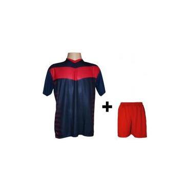 cc4c85b292 Uniforme Esportivo com 14 camisas modelo Dubai Marinho Vermelho + 14  calções modelo Madrid +
