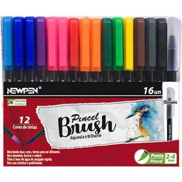 Caneta pincel Brush Pen blender 16 cores 17.025 Newpen BT 1 UN