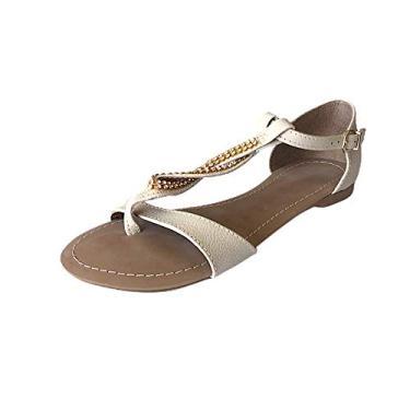 Rasteirinha em couro Marfim CS Shoes Cor:Bege;Tamanho:34