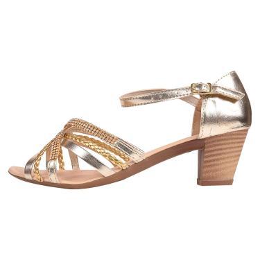 Sandália Romântica Calçados Salto Grosso Dourado  feminino