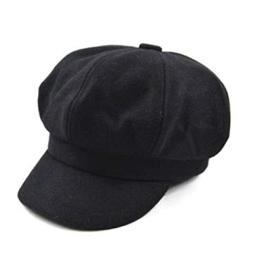 SOIMISS Boina de Lã Chapéu de Pintor de Lã Viseira Cabbie Beret Francês Artista Beanie Chapéus Francês Chapéus Mulheres Acessórios