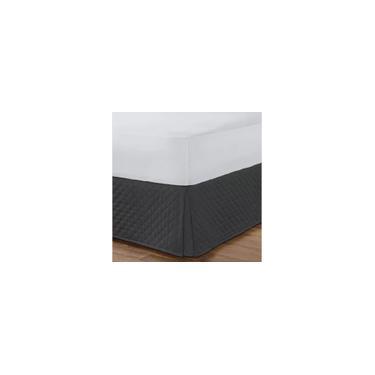 Imagem de Kit Saia Box Para Cama Casal + Protetor De Colchão e Travesseiro Impermeável Preto