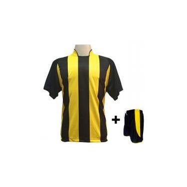 6119400abf Uniforme Esportivo com 18 camisas modelo Milan Preto Amarelo + 18 calções  modelo Copa +