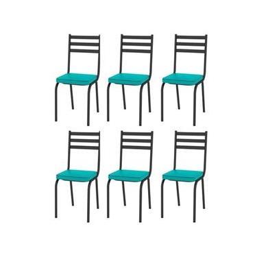 Jogo Com 6 Cadeiras Tubular Europa Assento Azul Turquesa Artefamol