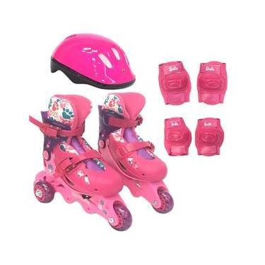 Kit De Patins Ajustavel 3 Rodas 29 a 32 Barbie Rosa R.7785-5 Fun