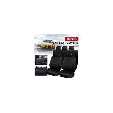 Imagem de Conjunto de capa de assento de carro universal traseiro 6 / 9X dianteiro e protetor de couro pu respirável de inverno para carro de 5 lugares, veículo suv, tronco rv van