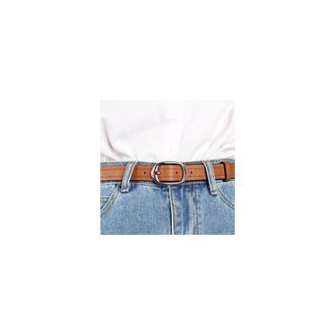 Retro Feminino Sólido Plutônio Couro Pino Cinto Fivela Cintura Jeans Cinto