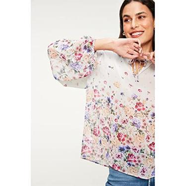 Imagem de Bata com Transparência e Estampa Floral Tam: GG/Cor: BEGE/ROSA