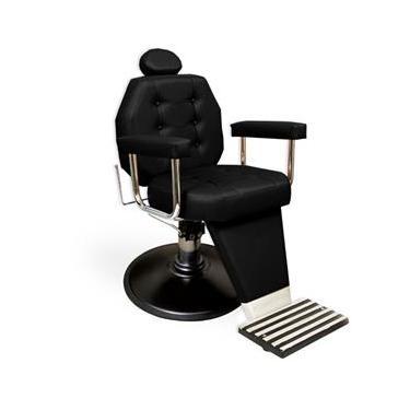 Cadeira de Barbeiro Reclinável Linea com Pé Taça e Braço Estofado - Preta