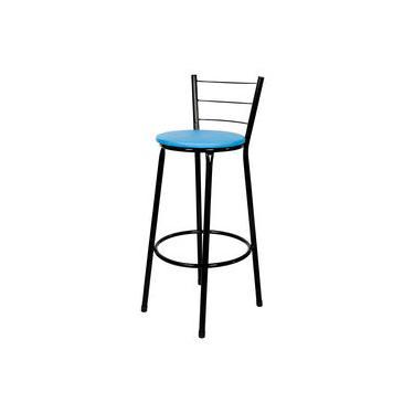Banqueta Alta Para Cozinha Preto Assento Azul