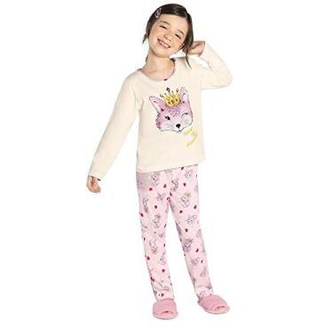 Pijama Infantil Feminino Raposa Rovitex Kids Bege 8