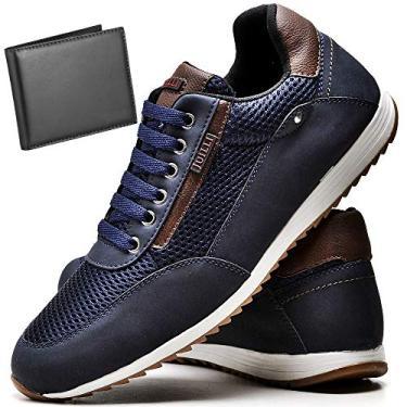 Imagem de Sapatênis Sapato Casual Com Carteira Masculino JUILLI R1100DB Tamanho:45;cor:Azul;gênero:Masculino