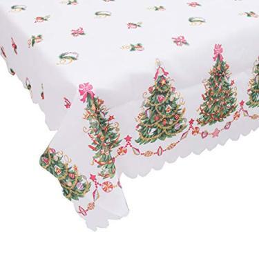 Imagem de giveyoulucky 150 x 180 cm Toalha de mesa de Natal com estampa temática de Natal retangular requintada capa de mesa de poliéster decoração de festa J