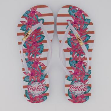 Chinelo Coca Cola Lines Garden Feminino Branco e Rosa - 33-34