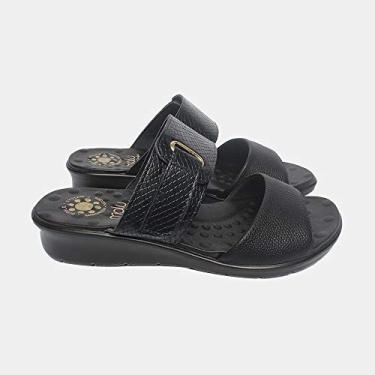 Sandália com Velcro Malu Super Comfort Cléo Feminino Preto 37