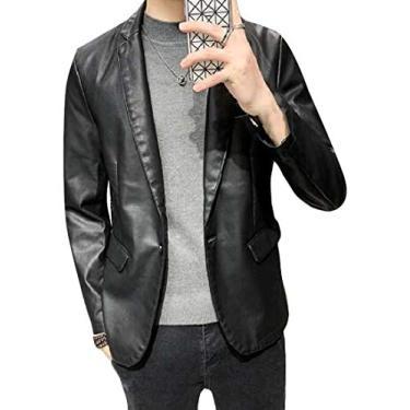 Blazer masculino UUYUK Slim Fit Lapela Casual Couro Sintético Um Botão Blazer Jaqueta Terno Casaco, Preto, X-Small