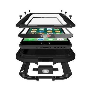 Capa para iPhone 7 Plus da Mangix, capa protetora de metal de liga de alumínio luxuosa de vidro Gorilla à prova de choque e à prova de choque para Apple iPhone 7 Plus, A-Black