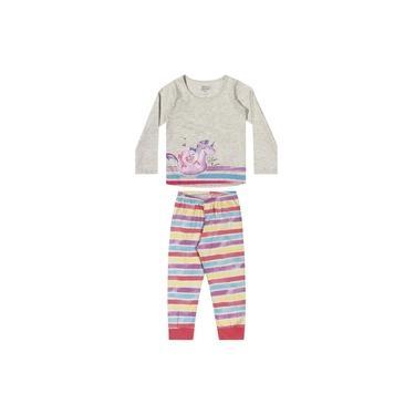 Pijama Infantil ML Unicórnio Mescla Elian Cinza G