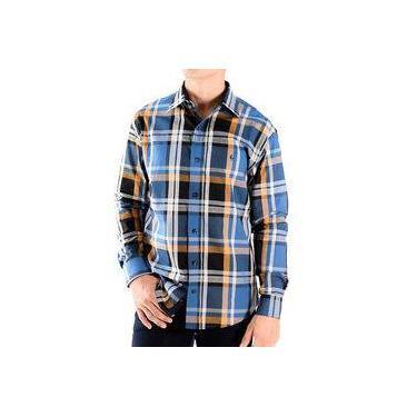 Camisa Zimpool Social Slim Fit Manga Longa Xadrez Azul - PP d201a3c6fa23e