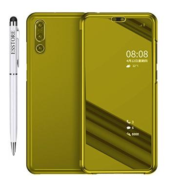 Capa para smartphone para Huawei P20 Pro [Stylus de uso duplo grátis][Tecnologia de revestimento de metal] Capa espelhada de perspectiva semi-transparente luxuosa com função hibernar/despertar e suporte automática, dourada