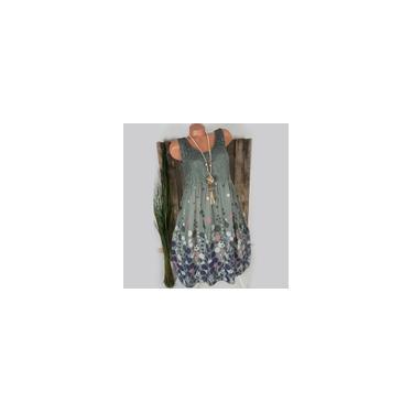 RainmallModa Mulheres vestido sem mangas Impresso Lace Patchwork oca Vestido T²nica