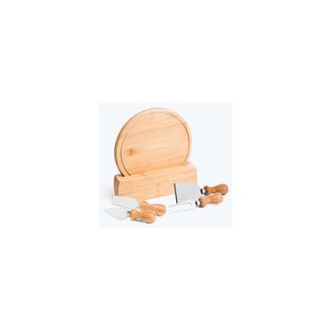 Imagem de Kit Conjunto Tabua Facas Para Queijo 5 Peças Em Bambu Welf