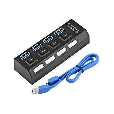 Hub USB 3.0 com 4 portas com Led Indicador e Botão On/Off - Suporta HD até 1TB Exbom UH-401