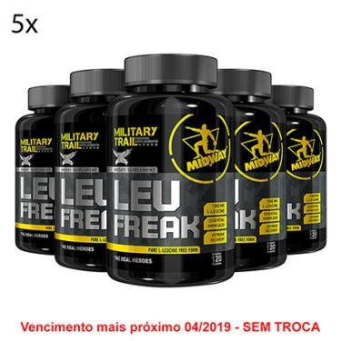 8fff84511 Kit 5x Amino Leu Freak Military Trail - Aminoácido Leucina Isolada 120 Cáps  - Unissex