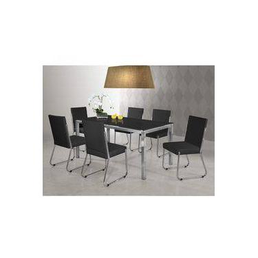1f833ff18 Conjunto Sala de Jantar Mesa Olívia 6 Cadeiras Siena Móveis Preto